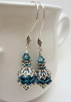 Juliet's Love: Handmade earrings cerulean blue glass and Swarovski and elegant . - Juliet's Love: Handmade earrings cerulean blue glass and Swarovski and elegant bead caps on Etsy - Wire Earrings, Wire Jewelry, Earrings Handmade, Jewelry Crafts, Beaded Jewelry, Jewelery, Handmade Jewelry, Handmade Headbands, Handmade Crafts