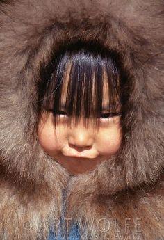 Inuit girl, Katovik, Barter Island, Alaska, USA: