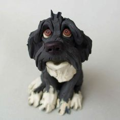 Ceramic Dog Sculpture Portugese Water Dog or Parti by RudkinStudio