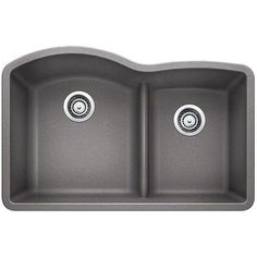 Blanco Diamond Undermount Composite 32 in. Reverse Low-Divide Double Basin Kitchen Sink in Metallic - The Home Depot Double Bowl Kitchen Sink, New Kitchen, Kitchen Ideas, Kitchen Designs, Kitchen Reno, Micro Kitchen, Hidden Kitchen, Kitchen Dinning, Kitchen Islands