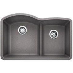 Blanco 441592 Diamond Metallic Gray Undermount Double Bowl Kitchen Sinks  eFaucets.com