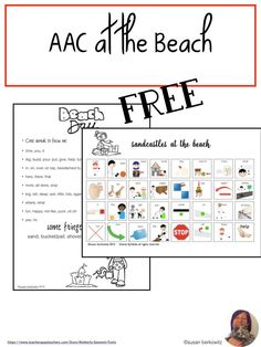 AAC use is best taught in context of genuine activities. Take learning to the beach with this fun activity-based communication board and ideas for building language while at the beach. Speech And Language, Speech Language Therapy, Speech Therapy Activities, Teaching Activities, Language Activities, Teaching Resources, Teaching Ideas, Communication Development, Language Development