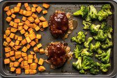Roasted Sheet Pan BBQ Meatloaf Dinner Finished