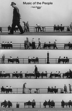 1952, Music of the People montage: One of Mr Feintein's most famous Coney Island images (pictured) uses the boardwalk's railings as a jazz line sheet and his subjects as musical notes