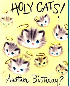 Vintage Greeting Card Kittens Cats Birthday by PaperPrizes on Etsy Vintage Birthday Cards, Vintage Greeting Cards, Birthday Greeting Cards, Birthday Greetings, Birthday Wishes, Cat Birthday, Animal Birthday, Happy Birthday, Vintage Cat