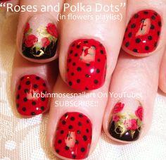 Nail-art by Robin Moses: red roses and polka dots, polka dot nail design, rockabilly nails, rockabilly nail art, 40's inspired nail art, 1940's nail art, 50's nail art, rock and roll nail art, rotary nail art, pin up girl nail art,