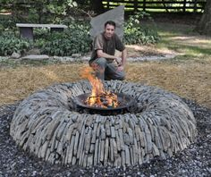 Still looking for that perfect fire pit? How about this split stone donut one. It's a hybrid dry stone wall and fire pit. Great if you have a small area and like the idea of both. on The Owner-Builder Network theownerbuilderne. Fire Pit Bench, Wood Fire Pit, Fire Pit Grill, Easy Fire Pit, Rustic Fire Pits, Steel Fire Pit, Concrete Fire Pits, Garden Fire Pit, Fire Pit Backyard