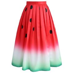 Watermelon Printed Midi Skirt ❤ liked on Polyvore featuring skirts, mid calf skirts, dot skirt, red polka dot skirt, red dot skirt and lined skirt