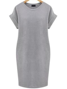 Grey+Cuffed+Edge+Pockets+Plus+Dress+17.51