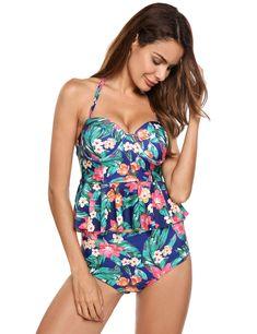 9546b6096ae8d Amazon.com: ladiy Women Sexy Strapless one Piece Floral Figure-Shaping  Bikini Set: Clothing. Maternity SwimsuitMaternity ...