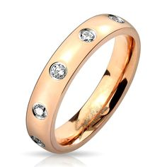 Stainless Steel Rose Gold .30 Carat CZ Eternity Wedding Band Ring,Size 5-8(4640) #Spikes #Band