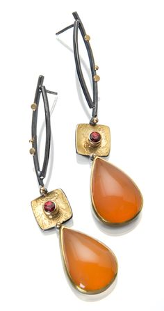 Orange Opal earrings by Sydney Lynch
