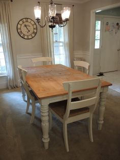 Gathering Branches: Dana's Table and the Year of the Dining Room White chalk painted farm table Diy Farmhouse Table, Shabby Chic Farmhouse, Farmhouse Style, Table And Chairs, A Table, Farm Tables, Dining Tables, Refurbished Furniture, Home Furniture