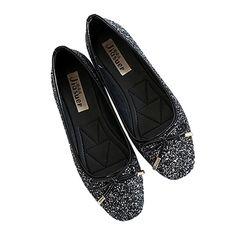 Metal Paillette Dazzling Bowknot Square Flat Thin Shoes black 35
