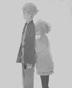Image about love in anime random by Mirai on We Heart It Anime Couples, Cute Couples, Mirai Kuriyama, Beyond The Boundary, Drawing Sketches, Drawings, Female Anime, Anime Sketch, Manga Characters