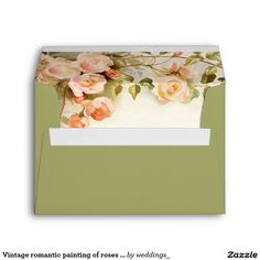 Vintage romantic painting of roses green wedding