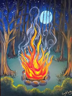 Moonlight Campfire Original Acrylic Painting on by CoryManleyArt