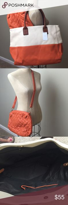 """Fabulous large Vegan Leather tote w/quilted pouch Fabulous tote with quilted pouch that can be used as a cross body/shoulder bag with clip on adjustable strap 21"""" X 13"""" X 7"""" Bags Totes"""