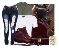 """"""""""" by eazybreezy305 ❤ liked on Polyvore featuring MICHAEL Michael Kors, Topshop, Dutch Basics, cute, simpleoutfit, jordans and 2016"""