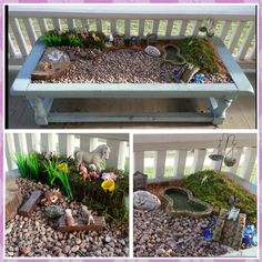 Coffee table upcycle to outdoor sensory play fairy garden