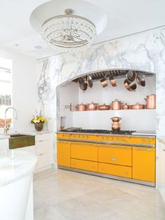 A big remodeling project updates part of an historic, whimsical home featuring this beautiful provence yellow Lacanche range cooker. Kitchen And Bath, Kitchen Dining, Kitchen Decor, Kitchen Cabinets, Kitchen Ideas, Home Design, Range Cooker, Copper Kitchen, Copper Pots