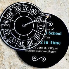 These Moment in Time Clock Invitations slide open easily to reveal your personalization. Each invitation measures 4 1/4 inches in diameter. These woud be great!