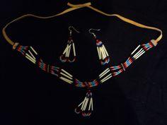 Handmade Native American beaded rings   Native American Handmade Quill and Beaded Necklace and Earring Set