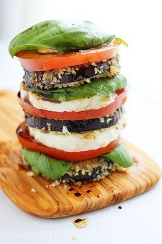 vegetarian: crispy eggplant caprese stacks...