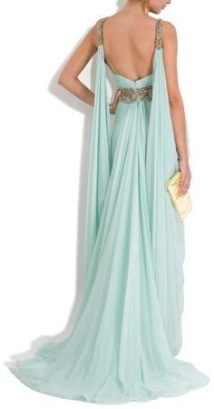 Marchesa Chiffon Plunge Emb Det Gown in Blue - Lyst