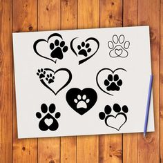 Heart Paw SVG INSTANT DOWNLOAD cut file, Paw Print svg, Dog Paw svg, Heart Paws, Paw Heart, Animal L
