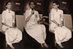 Sonam Kapoor wearing Anamika Khanna ivory dhoti salwar and muslin kurta