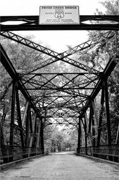 Old Route 66 Pryor Creek Bridge black and white 9x12 documentary photo // Roadside Americana Limited Edition Art