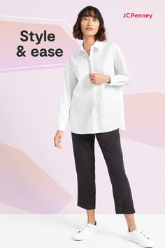 Our 24/7 style solution? New looks from Worthington, only at JCPenney! Slip into something a little more comfortable with our pull-on trousers and easy tunic shirts. Or layer a flirty wrap skirt and figure-hugging tee with the pieces you already own. Made with lots of easy details—including elastic waists—these essentials feel too good to pass up! Thin Headbands, Straight Trousers, Tunic Shirt, Pull On Pants, Quilting Ideas, Spring Style, Short Sleeve Blouse, New Outfits
