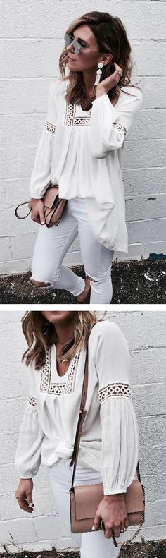 Step out like the maven you are in this flowy maven tunic in white. Fashion Maven Tunic in White featured by Cellajane Blog
