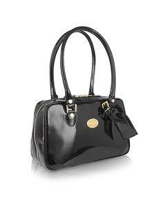 Black Italian Patent Leather Shoulder Bag #DesignerHandbags #DesignerShoes