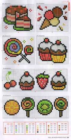 Cupcakes, Ice Creams and Candy Cross Stitch Chart