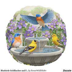 Bluebirds Goldfinches and Fountain Birdbath Round Pillow
