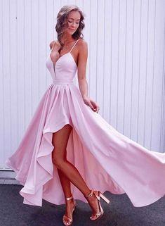long prom dresses - Simple pink v neck long prom dress, pink evening dress Pretty Prom Dresses, Simple Prom Dress, Hoco Dresses, Cheap Prom Dresses, Sexy Dresses, Short Pink Prom Dresses, Short Evening Dresses, Wedding Dresses, Dress Prom