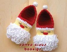 Santa Claus Baby Booties Crochet Pattern - LOL!
