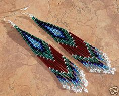 Free Indian Earring Patterns | Native American Jewelry - Navajo Indian Silver Beaded Earrings by ...