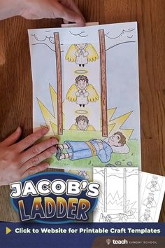 Jacob's Ladder Sunday School Craft for Grades K-6.  You can grab the printable templates on our website- print out a copy for each child, have them color, cut, and then watch the angels travel between heaven & Earth as them move the paper strip up and down the ladder! Sunday School Crafts For Kids, Bible School Crafts, Sunday School Activities, Sunday School Lessons, Children's Sunday School, Bible Activities For Kids, Bible Crafts For Kids, Bible Lessons For Kids, Preschool Crafts
