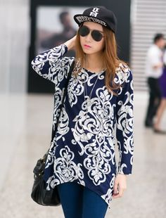Women's Sexy Blue Blouse ♥ http://www.koreastylelove.com/blue-white-spring-2015-trend-korean-spring-fashion/