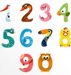Numbers like birds vector by KsenaShu on VectorStock® – Bird Supplies Numbers For Kids, Numbers Preschool, Alphabet And Numbers, Preschool Activities, Number Crafts, Number Art, Number Vector, Kid Fonts, Bird Identification