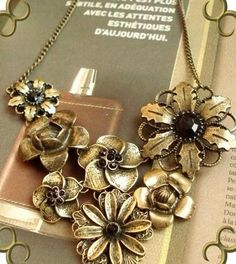 Antik Retro Design Schmuck Collier Kette Blume Rose Neu (3267)