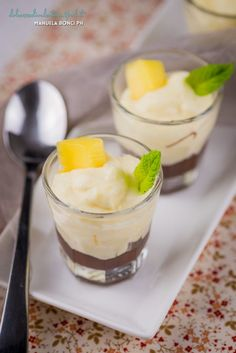 Mousse mango e cacao Mousse, Mango, Your Recipe, Fun Desserts, Spreads, Fig, Caramel, Almond, Pudding