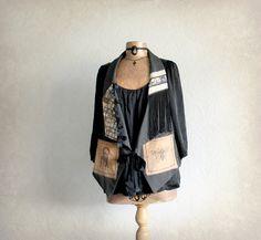 Women's Artsy Vest Paris French Black by BrokenGhostClothing
