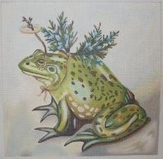 Angel Herb frog needlepoint, designer unknown
