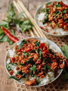 This Thai Basil Chicken Gai Pad Krapow Recipe Takes Just 3 Minutes To Prepare And 7 Minutes To Cook. Served Along With Steamed Rice. Restaurant Recipes, Dinner Recipes, Seafood Recipes, Thai Basil Chicken, Thai Basil Ground Chicken Recipe, Chicken Basil Recipes, Thai Basil Recipes, Asian Recipes, Healthy Recipes