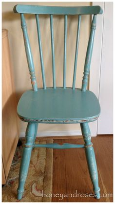 Painted Furniture   How to repaint a kitchen chair with two colors and distress it for a shabby chic look