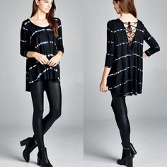 """""""Divine Comedy"""" Tie Dye Lace Up Back Top Long sleeve black tie dye lace up back top. Each piece is dyed separately so allow for some variation. Brand new. True to size. NO TRADES DON'T ASK. Only black color available. 95% viscose 5% spandex. Medium weight. Bare Anthology Tops"""